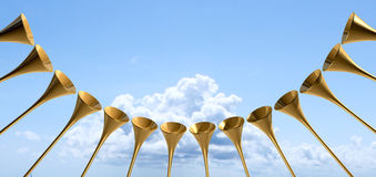 Heavenly Medieval Trumpet Circle And Sky Royalty Free Stock Images