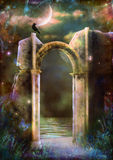 Heavenly Night. A crumbling gothic arch, among a stary mystical night Stock Images