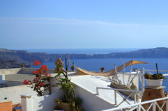 Santorini roof panoramic view Greece Stock Images