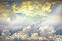 Heavenly Rays of Light. Beautiful rays of light in dramatic clouds Royalty Free Stock Photography