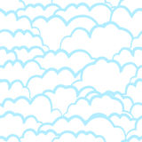 Heavenly seamless pattern with clouds Stock Photos