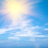 Heavenly Sky. Heavenly blue sky with bright sunshine and light beams Stock Photos
