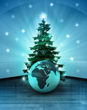 Heavenly space with Africa world globe under glittering xmas tree Stock Photos