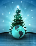 Heavenly space with America world globe under glittering xmas tree Royalty Free Stock Photos