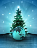 Heavenly space  with Asia world globe under glittering xmas tree Stock Image