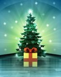 Heavenly space with gift surprise under glittering xmas tree Royalty Free Stock Images
