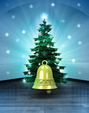 Heavenly space with golden bell under glittering xmas tree Royalty Free Stock Image