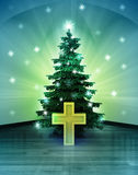 Heavenly space with golden cross under glittering xmas tree Stock Image