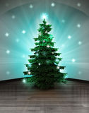Heavenly space with sky vault and glittering xmas tree Stock Photography