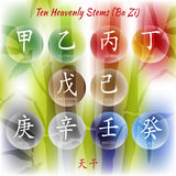 10 heavenly stems. Symbol from chinese hieroglyphs. Translation of 10 zodiac stems, feng shui signs hieroglyph Stock Photo