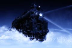 Heavenly train. Clouds with train and dark background with fog Royalty Free Stock Image