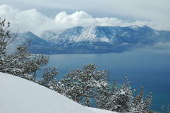 Heavenly View. View of Mt. Tallac and Lake Tahoe from the Heavenly Resort Gondola platform in the winter time Stock Images