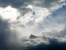 Heavens above #2. Light pouring through the clouds in northern Finland Stock Photo