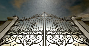 Heavens Closed Ornate Gates. A set of closed ornate gates to heaven under an ethereal light and cloudy afterlife Royalty Free Stock Photos