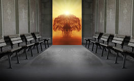 Heavens gate. Waiting on the empty benches near heavens gate Royalty Free Stock Photography