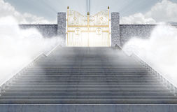 Heavens Gates. A concept depicting the majestic pearly gates of heaven surrounded by clouds and the staircase leading up to them - 3D render Stock Photography