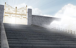 Heavens Gates. A concept depicting the majestic pearly gates of heaven surrounded by clouds and the staircase leading up to them - 3D render Royalty Free Stock Photos