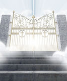 Heavens Gates. A concept depicting the majestic pearly gates of heaven surrounded by clouds and the staircase leading up to them - 3D render Royalty Free Stock Images