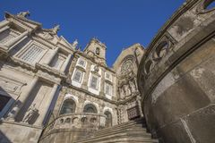 Saint Francis Church in Porto, Portugal. The heavily baroque interior of the Igreja Monumento de São Francisco Monument Church Of St Francis. Porto also known royalty free stock photo