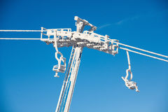 Heavily frozen chairlift at Dragobrat ski resort, Ukraine Stock Photography