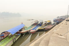 Heavily polluted air from forest fire cover Mekong river Royalty Free Stock Image