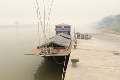 Heavily polluted air from forest fire cover Mekong river Stock Photography