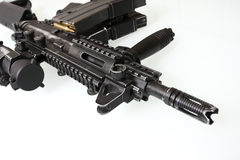 Heavily used military M16 rifle Stock Photo