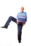 Heavy. Businessman balancing with heavy boxes Stock Photo