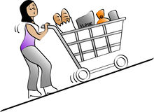 Heavy. Vector illustration of a woman pushing a shopping cart Royalty Free Stock Photos