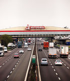 Heavy afternoon traffic on Italian motorway. Motorway A1 from Milano to Bologna at autogrill station service park Alda near Piacenza Stock Image