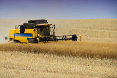 Heavy agricultural machinery during the harvest at countryside. Royalty Free Stock Images