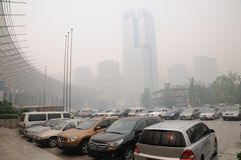 Haze,heavy air pollution in Chengdu(China) Royalty Free Stock Photo