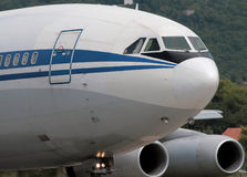 Heavy airplane is taxiing royalty free stock images