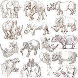 Heavy animals. Hand drawn pack on white. Freehands. Stock Image