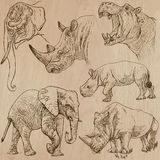 Heavy animals - vector pack, hand drawings Royalty Free Stock Image