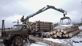 Heavy arm loader unloads wood logs from heavy truck at sawmill facility. Cold cloudy winter day stock footage