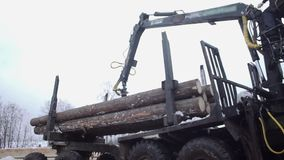 Heavy arm loader unloads wood logs from heavy truck at sawmill factory. Cold cloudy winter day stock footage
