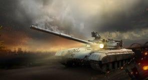 Heavy armor tank. Heavy armor in the fire of battle Royalty Free Stock Photo