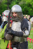 Heavy armored medieval warrior. Photo taken in Russia, in the city of Orenburg at the festival of historical reconstruction `Military glory, Phoenix - the wheel Royalty Free Stock Image