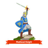 Heavy armoured french medieval knight. Standing with shield and sword. Flat vector illustration isolated on white background Royalty Free Stock Photo