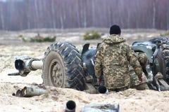 Heavy artillery on military war field Royalty Free Stock Photo