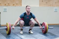 Heavy athletics, weightlifter. Stock Photo