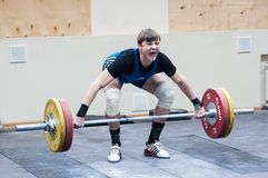 Heavy athletics, weightlifter. Royalty Free Stock Image