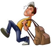 Heavy backpack vector illustration