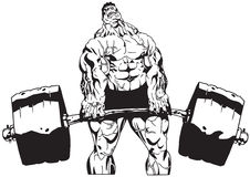 Heavy barbell. Bodybuilder training with heavy barbell Stock Image