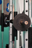 Heavy barbell in holder Stock Photography