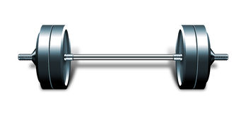 Heavy barbell isolated on white Royalty Free Stock Images