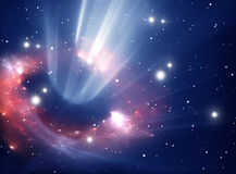 Heavy black hole. Heavy black hole absorbing gas and dust from around Stock Photo