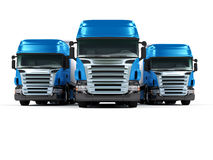 Heavy blue trucks isolated on white background Stock Photo