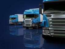 Heavy blue trucks presentation. Some blue trucks on blue background Stock Photo
